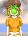 1girl animal_ears apple arms_at_sides blonde_hair blush brown_hat brown_shirt clouds cloudy_sky commentary_request covered_face cowboy_shot ears_down food fruit gaoo_(frpjx283) green_apple hat highres horizon midriff ocean pants rabbit_ears ringo_(touhou) shirt short_hair short_sleeves sky solo son_of_a_man striped striped_pants touhou