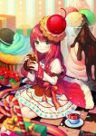 1girl blush box candy candy_cane cherry chocolate_syrup cookie cup cupcake doughnut dress eating food food_as_clothes food_themed_clothes fruit gift gift_box green_eyes hat ice_cream lips long_hair long_sleeves original oversized_object plate redhead sitting smile solo