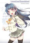 blue_hair blush long_hair love_live!_sunshine!! odango pink_eyes seifuku smile tsushima_yoshiko