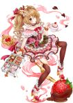 bag blueberry bow brown_eyes brown_hair brown_legwear candy chocolate chocolate_heart choker crown cup dessert doughnut flower food food_as_clothes food_themed_clothes food_themed_ornament fork frills fruit full_body handbag heart highres lolita_fashion long_hair looking_at_viewer moyon original pastry personification pink_bow pink_rose pink_skirt pocketland red_bow rose shoes skirt spoon strawberry stuffed_animal stuffed_toy sweet_lolita teacup teapot teddy_bear thigh-highs transparent_background twintails whipped_cream