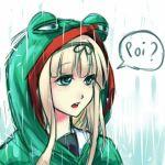 1girl blonde_hair hair_ribbon kantai_collection long_hair meme pepe_the_frog poi rain ribbon yuudachi_(kantai_collection)