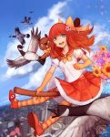 1girl anime_north bangs beaver bell bird blue_eyes blue_sky bow broom broom_riding building canada city clouds elbow_gloves flower gloves goose hoppouno_momiji jingle_bell open_mouth orange_gloves pleated_skirt redhead round_teeth sailor_collar sangcoon skirt sky smile striped striped_legwear sunflower teeth thigh-highs