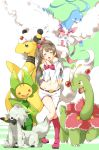 1girl altaria ampharos bow brown_hair closed_eyes crossover furfrou highres ksk_(semicha_keisuke) leavanny long_hair love_live!_school_idol_project mega_ampharos meganium minami_kotori one_side_up open_mouth pokemon pokemon_(creature) smile sylveon