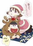1boy 1girl animal_costume black_hair boots brown_hair chin_rest english hat heart heart_in_mouth kneeling matsuno_juushimatsu o-yuki osomatsu-kun osomatsu-san reindeer_costume santa_costume santa_hat short_twintails simple_background smile translation_request twintails white_background yowai_totoko