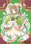 1girl bow brown_hair cherry cherry_blossoms chocolate_syrup dango detached_sleeves dress flower food food_as_clothes food_themed_clothes food_themed_hair_ornament food_themed_ornament frilled_dress frills fruit full_body green_bow hair_bow hair_flower hair_ornament highres long_hair looking_at_viewer original parfait personification pocketland red_bow shoes solo standing tamagoboro traditional_media wagashi white_shoes