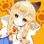 :o animal_ears blonde_hair blue_dress blush braid braiding_hair cat_ears character_request cloak close-up dress face green_eyes hair_bobbles hair_ornament hair_tie hairdressing highres honda_tamanosuke hood hooded_cloak index_finger_raised looking_at_viewer monster_hunter monster_hunter_x orange_background parted_lips paw_print pointing pointy_ears sidelocks simple_background twin_braids