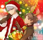 2boys animal_costume animal_ears box brown_eyes brown_hair christmas christmas_tree copyright_name fake_animal_ears fake_antlers fur_trim grey_eyes grey_hair grin hairband hanamura_yousuke hat holding_box kuma_(persona_4) looking_at_viewer male_focus mami_(apsaras) merry_christmas multiple_boys narukami_yuu ornament persona persona_4 reindeer_costume reindeer_ears santa_costume santa_hat short_hair smile
