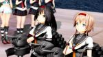 6+girls akizuki_(kantai_collection) black_skirt chou-10cm-hou-chan chou-10cm-hou-chan_(teruzuki's) highres kantai_collection maya_(kantai_collection) mikumikudance miniskirt multiple_girls school_uniform shigure_(kantai_collection) shiratsuyu_(kantai_collection) skirt teruzuki_(kantai_collection) yuudachi_(kantai_collection)