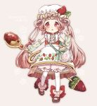 1girl :o arm_warmers blush bow brown_shoes cup flower food food_as_clothes food_themed_clothes frills fruit full_body gradient_hair hair_ornament hair_rings hat highres jar long_hair looking_at_viewer mokarooru multicolored_hair original pantyhose personification pink_hair pocketland red_bow red_eyes shoes simple_background solo spoon standing strawberry strawberry_blossoms strawberry_hair_ornament strawberry_print sugar_cube teacup twintails white_background white_hair white_hat white_legwear