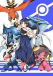 1girl archery arrow blue_hair bow_(weapon) crossover froslass greninja highres japanese_clothes ksk_(semicha_keisuke) long_hair love_live!_school_idol_project mega_mawile muneate pokemon pokemon_(creature) sawk single_glove solo sonoda_umi suicune talonflame weapon yellow_eyes yugake
