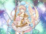 1girl blonde_hair blue_eyes elbow_gloves gauntlets gloves highres horns long_hair puzzle_&_dragons sakuya_(p&d) takuan_lte