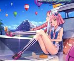 2girls :d bag bangs blue_eyes blue_sky blunt_bangs blush bob_cut breasts butterfly_hair_ornament butterfly_on_foot clouds collarbone cross-laced_footwear crossed_legs hair_ornament hairband handkerchief holding_pen hot_air_balloon kneehighs knife lens_flare leotard long_sleeves looking_away motion_blur motor_vehicle mountain multiple_girls neck_ribbon open_mouth original outdoors panties paper pen pink_hair pink_ribbon purple_hair red_eyes reflection ribbon sailor_collar sandwich shade shoes short_hair side-tie_panties sideboob sitting sky sleeveless smile sneakers star_print striped striped_legwear suitcase sunlight tree truck underwear vehicle vertical-striped_legwear vertical_stripes wind yokaze_japan