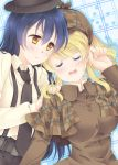2girls ayase_eli bangs belt blonde_hair blue_hair blush breasts brown_eyes closed_eyes detective drooling hand_on_another's_shoulder hat large_breasts long_hair looking_at_another love_live!_school_idol_project mimori_(cotton_heart) multiple_girls necktie open_mouth pants parted_bangs ponytail shirt sleeping smile sonoda_umi suspenders yuri