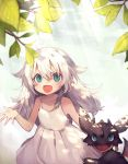 1girl :d ahoge bangs bare_shoulders blue_eyes blush child clothes_grab collarbone dragon dress fang fantasy flipped_hair hair_between_eyes hair_flaps haruka_(reborn) highres leaf light_rays long_hair messy_hair open_mouth original outdoors silver_hair sky sleeveless sleeveless_dress smile sunbeam sunlight tareme white_dress