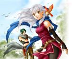 1boy 1girl artist_request bare_shoulders bird black_gloves black_legwear blue_scarf boots bracelet dress elbow_gloves fingerless_gloves fire_emblem fire_emblem:_akatsuki_no_megami gloves green_hair hair_ribbon half_updo jewelry long_hair micaiah midriff pants pantyhose ribbon scarf side_slit silver_hair sleeveless sleeveless_dress smile sothe white_scarf yellow_eyes yune