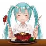 1girl aqua_hair blush broccoli closed_eyes closed_mouth collared_shirt eating food fork gotoh510 happy hatsune_miku highres knife plate shirt signature simple_background steak table twintails vocaloid