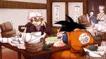 2boys 2girls black_hair blonde_hair bowl chair crossover darjeeling_(reley) dragon_ball eating faceless faceless_female faceless_male food hat highres mob_cap multiple_boys multiple_girls muscle open_mouth shrimp shrimp_tempura son_gokuu spiky_hair spoon table tempura touhou wristband yakumo_yukari