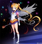 1girl bishoujo_senshi_sailor_moon blonde_hair blue_eyes boots brooch choker crescent double_bun earrings elbow_gloves eternal_sailor_moon eternal_tiare expressionless facial_mark forehead_mark full_body gloves hair_ornament hairpin jewelry knee_boots layered_skirt long_hair looking_at_viewer magical_girl sailor_collar sailor_moon shainea solo staff standing tsukino_usagi twintails twitter_username white_boots white_gloves