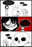 1boy 3koma ^_^ androgynous annoying_dog black_hair chara_(undertale) closed_eyes comic constricted_pupils dog english evil_grin evil_smile frisk_(undertale) glowing glowing_eye grin hood hoodie hot_dog joke knife long_tongue on_head palidoozy-art sans shirt skeleton smile spoilers spot_color squatting stacking striped striped_shirt sweat sweating_profusely tongue undertale