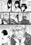 bangs bifidus cellphone closed_eyes clothes_grab commentary_request crying crying_with_eyes_open eye_poke fusou_(kantai_collection) hair_between_eyes headgear hyuuga_(kantai_collection) japanese_clothes kantai_collection long_hair neckerchief phone poking school_uniform shinkaisei-kan short_hair sleeveless smile ta-class_battleship tears translation_request younger