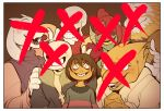 3boys 3girls ;p alphys androgynous asgore_dreemurr bad_end beard blonde_hair child constricted_pupils crazy_smile crossed_out dark_persona everyone evil_grin evil_smile eyepatch eyeshadow facial_hair frisk_(undertale) glasses grin group_picture hands_clasped head_fins hood hoodie horns makeup monster_boy monster_girl multiple_boys multiple_girls one_eye_closed palidoozy-art papyrus_(undertale) photo_(object) red_eyes sans shirt skeleton smile spoilers striped striped_shirt tongue tongue_out toriel undertale undyne v
