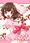 1girl :3 absurdres animal_ears bloomers bow brown_hair bunny_tail eyebrows eyebrows_visible_through_hair floral_background flower food food_in_mouth frilled_sleeves frills from_behind fruit fruit_background highres inaba_tewi jewelry looking_at_viewer looking_back necklace pink_eyes puffy_short_sleeves puffy_sleeves rabbit_ears raspberry s-s_(ss) short_sleeves solo strawberry strawberry_print tail touhou underwear