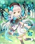 1girl :d bangs beret black_legwear blue_bow blue_hair blunt_bangs bow braid butterfly butterfly_wings capelet company_name cowboy_shot double_bun dress gradient_hair grass green_eyes green_ribbon hat holding lace-trimmed_dress lantern leaf long_hair looking_at_viewer magnifying_glass multicolored_hair nature neck_ribbon open_mouth original outdoors outstretched_arms ribbon silver_hair smile solo sparkle standing_on_one_leg tareme thigh-highs tree twin_braids two_side_up wasabi_(sekai) white_dress wings wrist_cuffs zettai_ryouiki