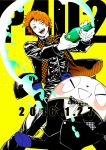 2boys alternate_costume bear bottle brown_hair copyright_name dated formal hanamura_yousuke kuma_(persona_4) male_focus multiple_boys necktie official_art one_eye_closed persona persona_4 persona_4:_the_ultimate_in_mayonaka_arena persona_4:_the_ultimax_ultra_suplex_hold saitou_rokuro suit yellow_background