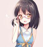 black_hair blush dress idolmaster idolmaster_cinderella_girls kamijou_haruna megane short_hair yellow_eyes