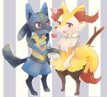braixen full_body furry heart lucario no_humans pokemon pokemon_(creature) red_eyes