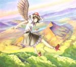 1girl bird_wings black_hair black_wings flying forest geta hat hat_ribbon lake marker_(medium) millipen_(medium) mountain nature pom_pom_(clothes) puffy_short_sleeves puffy_sleeves red_eyes ribbon shameimaru_aya shiratama_(hockey) shirt short_sleeves skirt sky solo tokin_hat touhou traditional_media wings