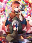 1girl argyle argyle_legwear blush book clouds copyright demon_wings detective hat long_hair magnifying_glass nmaaaaa official_art one_eye_closed rainbow red_eyes redhead sitting smile socks solo wings