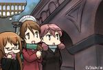 3girls akashi_(kantai_collection) alternate_costume aqueduct coat commentary crescent dated glasses hamu_koutarou hands_in_pockets hat kantai_collection littorio_(kantai_collection) mochizuki_(kantai_collection) multiple_girls overcoat scarf turtleneck