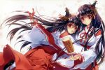 2girls :d absurdres beige_background black_hair blush carnelian case detached_sleeves fusou_(kantai_collection) hair_between_eyes hakama headgear highres hug japanese_clothes kantai_collection kimono long_hair long_sleeves looking_at_viewer multiple_girls nontraditional_miko open_mouth petals red_eyes red_ribbon ribbon ribbon-trimmed_sleeves ribbon_trim sandals scan simple_background smile tabi very_long_hair wide_sleeves wood yamashiro_(kantai_collection)