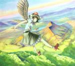 1girl bird_wings black_hair black_wings flying forest geta hat hat_ribbon lake marker_(medium) millipen_(medium) mountain nature pom_pom_(clothes) puffy_short_sleeves puffy_sleeves red_eyes revision ribbon shameimaru_aya shiratama_(hockey) shirt short_sleeves skirt sky solo tokin_hat touhou traditional_media wings