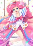 amy30535 blue_eyes bow bowtie candy candy_corn confetti food_themed_clothes gala_dress gloves lollipop my_little_pony my_little_pony_friendship_is_magic personification pink_hair pinkie_pie smile