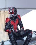 1boy ant-man antennae aona_(kuuga19yuu) black_gloves blurry bodysuit depth_of_field gloves helmet male_focus marvel miniboy scott_lang shower_curtain sitting solo