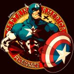 1boy abs artist_name captain_america character_name cleft_chin frown hand_on_hip helmet male_focus marvel muscle shield signature solo steve_rogers suparu_(detteiu) superhero upper_body winged_helmet