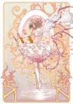 1girl angel_wings card cardcaptor_sakura choker clow_card dress floating_card floating_object frilled_dress frills from_side hair_ribbon highres kinomoto_sakura leenim magical_girl petals puffy_short_sleeves puffy_sleeves ribbon shoes short_sleeves single_thighhigh solo thigh-highs two_side_up white_legwear white_shoes wings