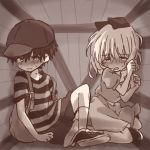 blush bukiko crying hair_ribbon hat monochrome mother_(game) mother_2 ness paula_polestar ribbon short_sleeves