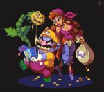 1boy 1girl bandana blue_skin breasts brown_eyes brown_hair capri_pants captain_syrup cleavage earrings eyebrows eyeshadow facial_hair full_body gloves hat height_difference hoop_earrings jack_in_the_box_(toy) jewelry joakim_sandberg long_hair makeup mario_(series) money mustache off_shoulder pants pendant pointy_ears sack sash skull smile super_mario_bros. suspenders thick_eyebrows wario wario_land white_gloves