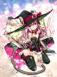 1girl :o artist_request bare_shoulders beads black_legwear breasts character_request cleavage collar detached_sleeves earrings elbow_gloves gloves hat jewelry long_hair looking_at_viewer million_arthur_(series) nimue_(kaku-san-sei_million_arthur) official_art pink_eyes pink_hair red_eyes refeia ring solo straddling thigh-highs toeless_legwear v_arms vacuum_cleaner witch_hat