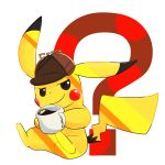 ? coffee commentary_request detective_pikachu great_detective_pikachu:_the_birth_of_a_new_duo hat no_humans pikachu pokemon pokemon_(creature) smirk