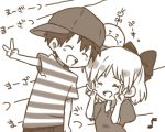 bukiko doseisan hair_ribbon hat lowres monochrome mother_(game) mother_2 ness paula_polestar ribbon short_sleeves smile