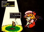 1girl ^_^ blush_stickers closed_eyes colored_text crossover dirt english fang flandre_scarlet flower flowey_(undertale) grass hat head_rest leaf mob_cap sitting smile sunlight touhou undertale