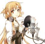 1girl abec asuna_(sao) asuna_(sword_art_online) black_dress braid brown_hair dress headphones headphones_around_neck highres long_hair smile solo sword_art_online