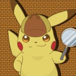 brick_wall commentary_request detective_pikachu great_detective_pikachu:_the_birth_of_a_new_duo hat lowres magnifying_glass no_humans pikachu pokemon pokemon_(creature)