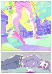 2koma blood blood_from_mouth bloodshot_eyes caicai_(cafacaicai) church clouds comic diavolo foreshortening freckles jojo_no_kimyou_na_bouken lying midriff navel on_side polka_dot pool_of_blood purple_blood purple_hair ribbed_sweater shadow signature sweater torn_clothes unbuttoned vinegar_doppio wristband yellow_eyes