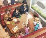 1boy 6+girls amami_haruka blonde_hair blue_hair brown_hair cameo diner food futaba_anzu hair_ornament honda_mio idolmaster idolmaster_cinderella_girls kisaragi_chihaya long_hair moroboshi_kirari multiple_girls ozu_roji producer_(idolmaster_cinderella_girls_anime) school_uniform shibuya_rin shimamura_uzuki short_hair twintails