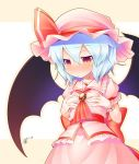 1girl :< aozora_market bat_wings blue_hair blush bow brooch hands_to_own_chest hat hat_bow jewelry red_eyes remilia_scarlet short_hair solo touhou wings
